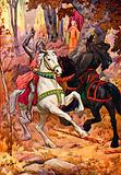 The Black Knight attacking King Pellinore