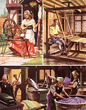 Spinning, weaving and dyeing cloth, 18th C