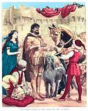 King Arthur is armed for battle outside Camelot