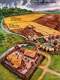 The Wonderful Story of Britain: Aerial view of an Anglo-Saxon village