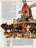 The Wonderful Story of Britain: A post mill being turned towards the wind