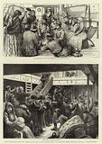 """The Emigration of the Russian Jews, Sketches on Board the Guion Liner, """"Wisconsin"""""""