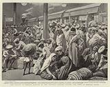 The Plague at Bombay, Natives at the Victoria Station leaving the Town by Special Train
