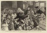 Dispensing the Winter Charities of the Parish, distribution of food and clothing to the poor of St Clement Dane's