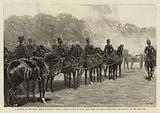 A Battery of the Royal Horse Artillery firing a Royal Salute in Hyde Park when the Bells …