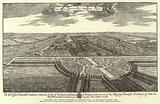 Bird's-Eye View, looking Westward, of Hampton Court, in the Reign of Queen Anne