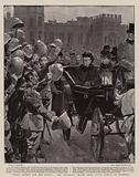 """""""Three Cheers for the Queen"""", the Canadian Troops from South Africa at Windsor"""