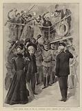 """South African Troops on the SS """"Dunvegan Castle"""" cheering the Lord Mayor"""