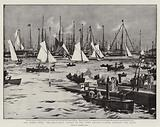 The Cowes Week, Two-and-a-Half Raters in the Town Regatta racing through the Fleet
