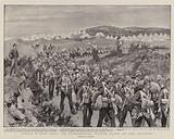 Ordered to South Africa, the Northumberland Fusiliers leaving Ash Camp, Aldershot
