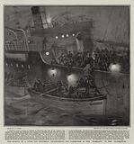 """The Sinking of a Liner off Holyhead, transferring the Passengers of the """"Waesland"""" to the """"Harmonides"""""""