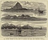 The Volcanic Eruption at Java, Views of Krakatoa and Anjer, now Completely Destroyed