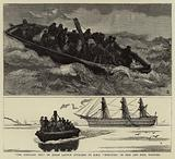 """""""The Portland 'Bus,"""" or Steam Launch attached to H M S """"Hercules,"""" in Fair and Foul Weather"""