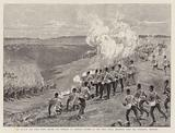 The Review and Sham Fight before the Emperor of Germany, Charge of the First Royal Dragoons upon …