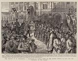 The Cholera in St Petersburg, a Procession of Priests going to the Spasski Church to pray for …
