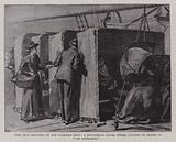 """The Deck Shelters on the Guernsey Boat, a Ministering Angel offers Bunches of Grapes to """"Les Miserables"""""""