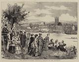 The Henley-on-Thames Regatta, a Sketch by the Riverside
