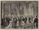Visit of King Victor Emmanuel to Berlin, Presentation of State Dignitaries to the King on his Arrival at the Palace