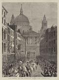 Lord Mayor's Day, the Procession passing down Ludgate Hill