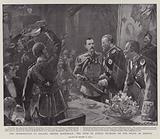 The Presentation to Colonel Hector MacDonald, the Duke of Atholl buckling on the Sword of Honour