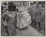 The Queen's Drawing Room, Debutantes on their Way to the Throne Room passing the Yeomen of the Guard