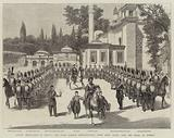 Sultan Abd-ul-Hamid II leaving the Eyoub Mosque, Constantinople, after being girded with the Sword of Othman