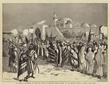 """An Artist's Pilgrimage to the Holy Land, III, Pilgrims firing Salutes at the Reputed Tomb of Moses, """"Neby Musa"""""""