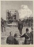 Our coast defences, the trial of the new armoured train at Newhaven, Lord Charles Beresford firing the gun
