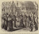 Mrs Frances Elizabeth Bentinck laying the Foundation-Stone of the Church of the Holy Trinity, at Westminster