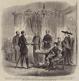 The Revolution in Sicily, General Garibaldi receiving the Neapolitan Envoy, Major Bosco …