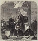 The Speaker of the New House of Commons, the Right Honourable John Evelyn Denison, Taking the Oaths