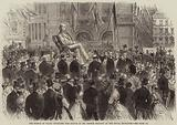 The Prince of Wales unveiling the Statue of Mr George Peabody at the Royal Exchange