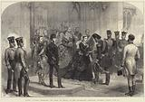 Queen Victoria receiving the Shah of Persia at the Sovereign's Entrance, Windsor Castle, 20 June