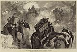 The Prince of Wales in the Terai, crossing a Nullah in the Jungle