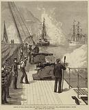Arrival of HMS Serapis with the Prince of Wales at Gibraltar, HMS Swiftsure firing a Salute