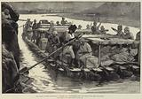 Our Troops leaving Afghanistan, floating sick and Wounded down the Cabul River from Jellalabad