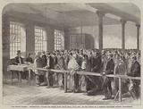 The Cotton Famine, distributing Tickets for Bread, Soup, Meat, Meal, Coal, etc, at the Office …