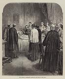 The Cardinal Camerlengo verifying the Death of the Pope