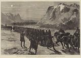 The Rebellion in the North-West Territory of Canada, Colonial Troops marching over the Ice …