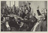 Re-Election of Mr Parnell as Leader of the Irish Party, 25 November 1890, in Committee Room No 15, House of Commons