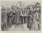 """London-American Women's Hospital-Ship """"Maine"""", the Duke of Connaught hoisting the Union Jack presented by the Queen"""