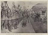 """""""Three Cheers for the Queen!"""" , Her Majesty inspecting the Household Brigade Prior to their …"""