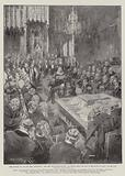 King Edward VII and his First Parliament, the Lord Chancellor reading the Message from the King …