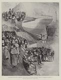 """The Largest Ship afloat, Sketches at the Launch of the White Star Liner, """"Oceanic,"""" at Belfast on 14 January"""