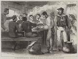 The Reinforcements for Canada, Dinner-Time and serving out the Grog on Board a Troop-Ship at Woolwich