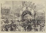 The Royal Visit to Sheffield, Prince and Princess of Wales passing under the Arch of Welcome, Station-Road