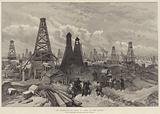 The Petroleum Oil Wells at Baku, on the Caspian