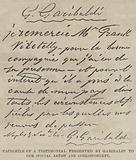 Facsimile of a Testimonial presented by Garibaldi to our Special Artist and Correspondent