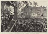 The Ulster Demonstration at Belfast, Procession passing Mr Balfour, and burning of the Home Rule Bill