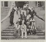 Mr Llewellyn and Senegambian Chiefs on the Steps of Government House, Bathurst, River Gambia, West Africa